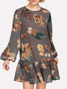Botanical Print Bishop Sleeve Ruffle Dress