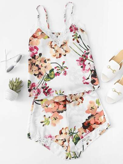 Flower Print Cami Top & Shorts Pajama Set