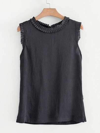 Frill Trim Tie Back Tank Top