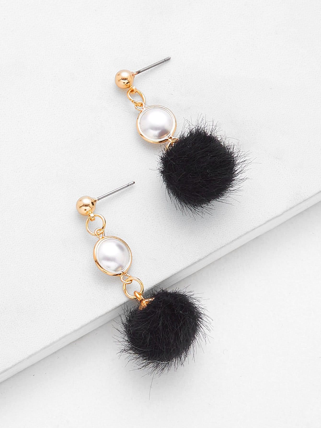 Pom Pom Drop Earrings With Faux Pearl faux pearl drop shoulder dress