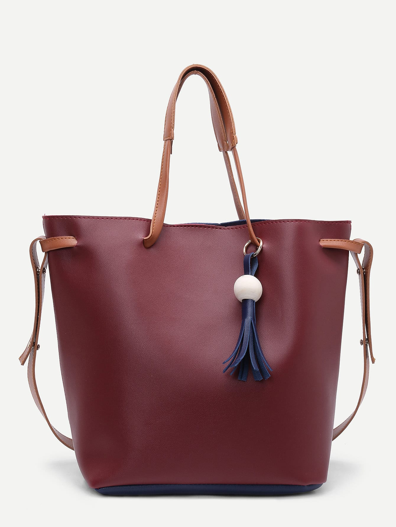Tassel Detail PU Shoulder Bag With Clutch tassel detail pu shoulder bag