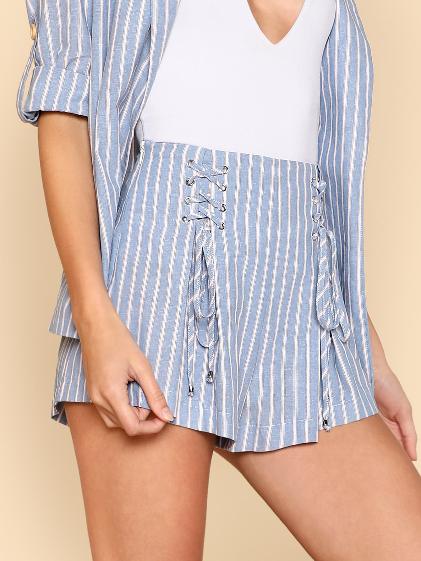 Grommet Lace Up Striped Shorts striped grommet lace up dropped shoulder top