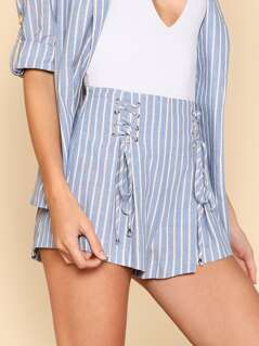 Grommet Lace Up Striped Shorts