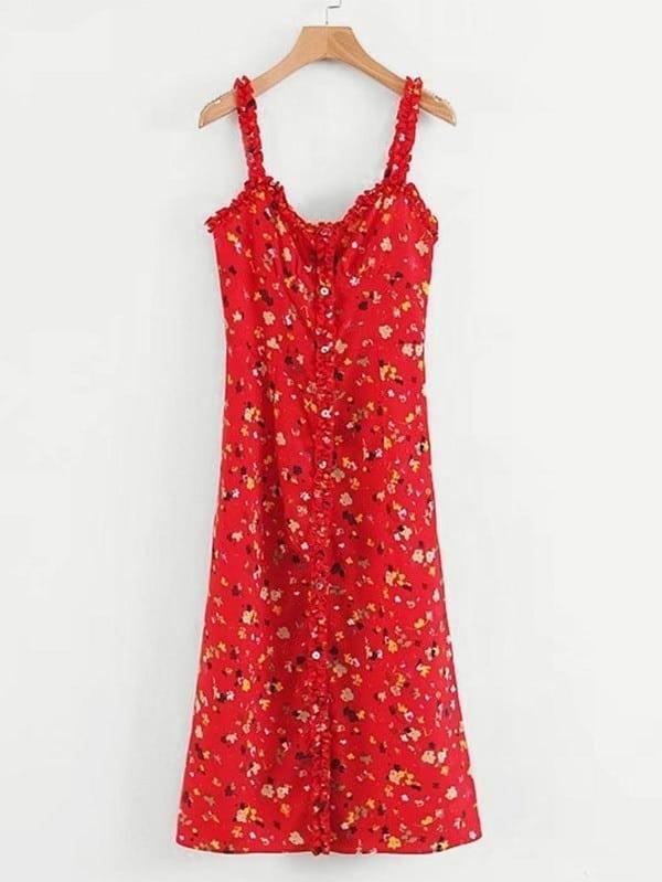 Frill Trim Calico Print Cami Dress calico print faux pearl detail cami dress