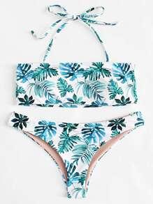 Jungle Print Halter Bikini Set