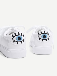 Eye Embroidery Lace Up Slip On Sneakers