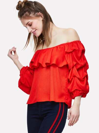 Gathered Sleeve Ruffle Bardot Top