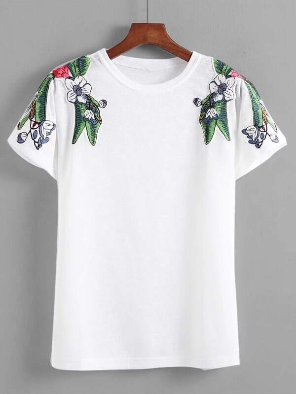 Floral Patched Shoulder Tee floral patched round neck tee