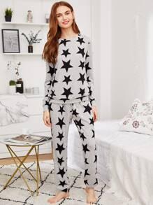 Allover Star Print Heathered Sweatshirt & Sweatpants Pajama Set