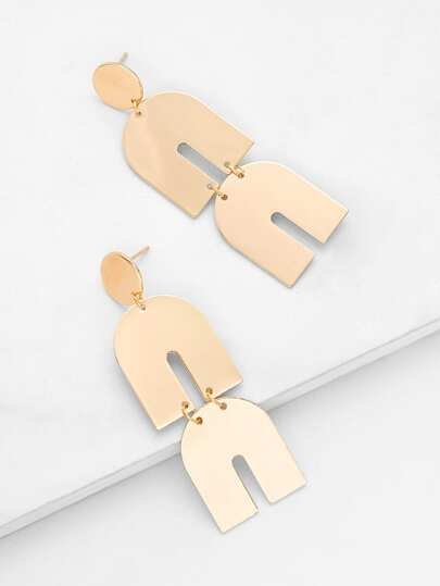 Double U Magnet Design Drop Earrings