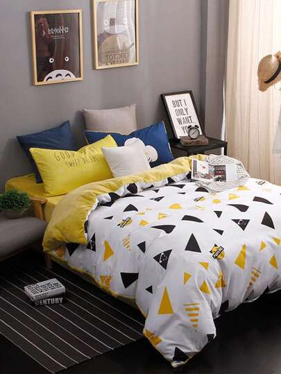 2.0m 4Pcs Triangle Print Duvet Cover Set