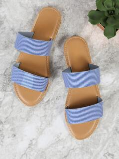 Striped Double Band Flat Sandals BLUE