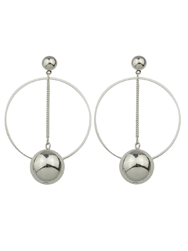 Beads Big Round Circle Shape Geometric Drop Earrings two tone round flake drop earrings