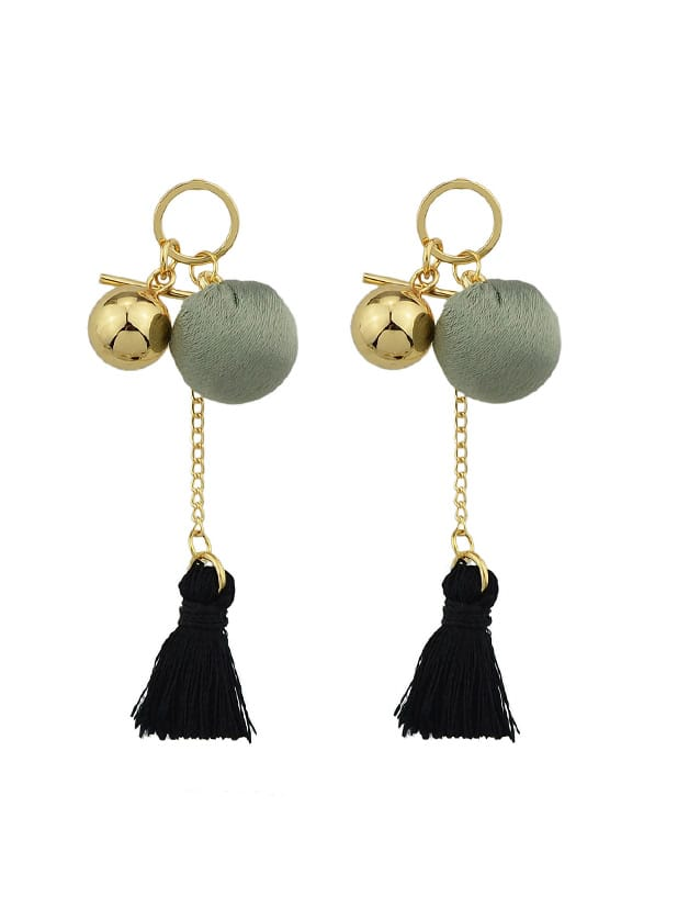 Фото Black Velvet Ball Tassel Earrings