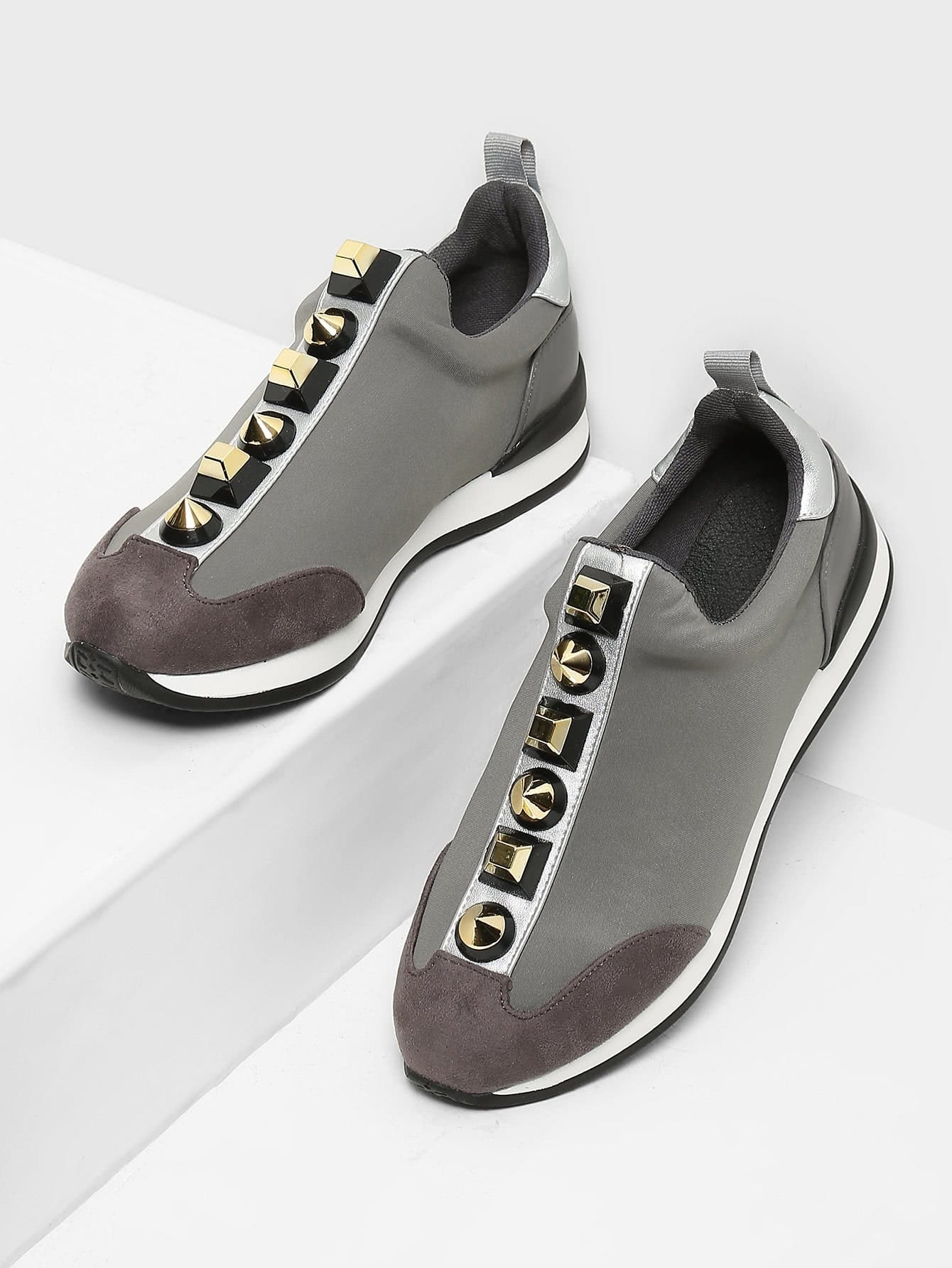 Studded Decorated Slip On Sneakers