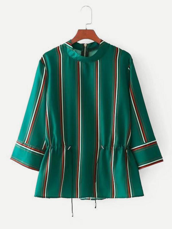 Drawstring Waist Striped Blouse drawstring waist high low striped kimono