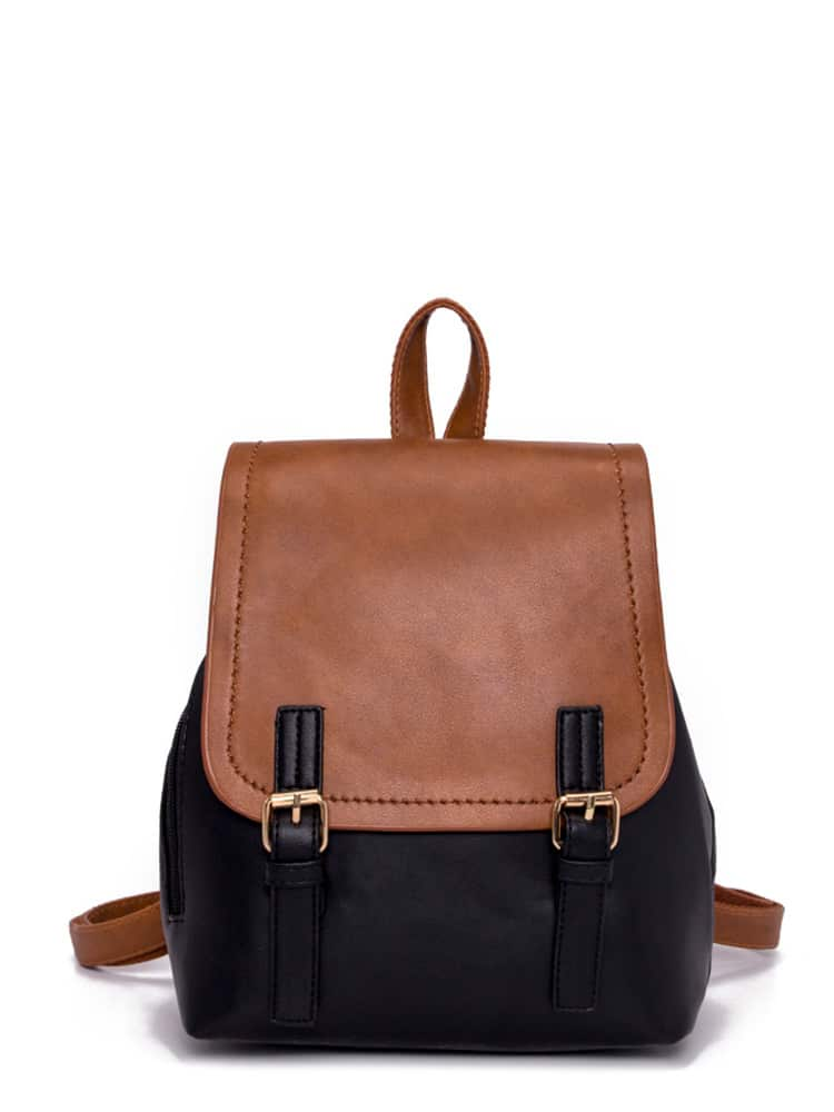 Double Buckle Two Tone Backpack drop crotch loose two tone pants