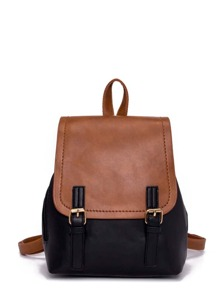 Double Buckle Two Tone Backpack