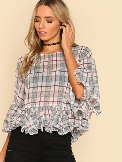 Lettuce Ruffle Sleeve And Hem Plaid Top