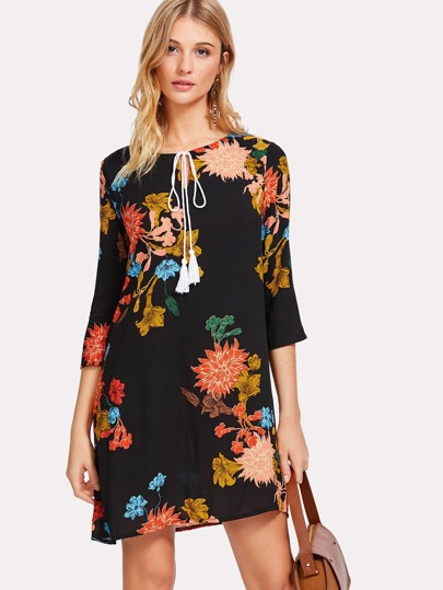 Tasseled Tie Botanical Tunic Dress