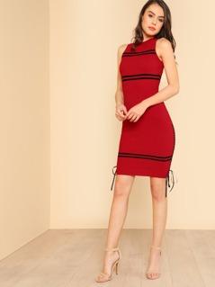 Ribbon Tie Side Stripe Ribbed Dress RED BLACK