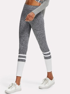 Two Tone Striped Marled Knit Leggings