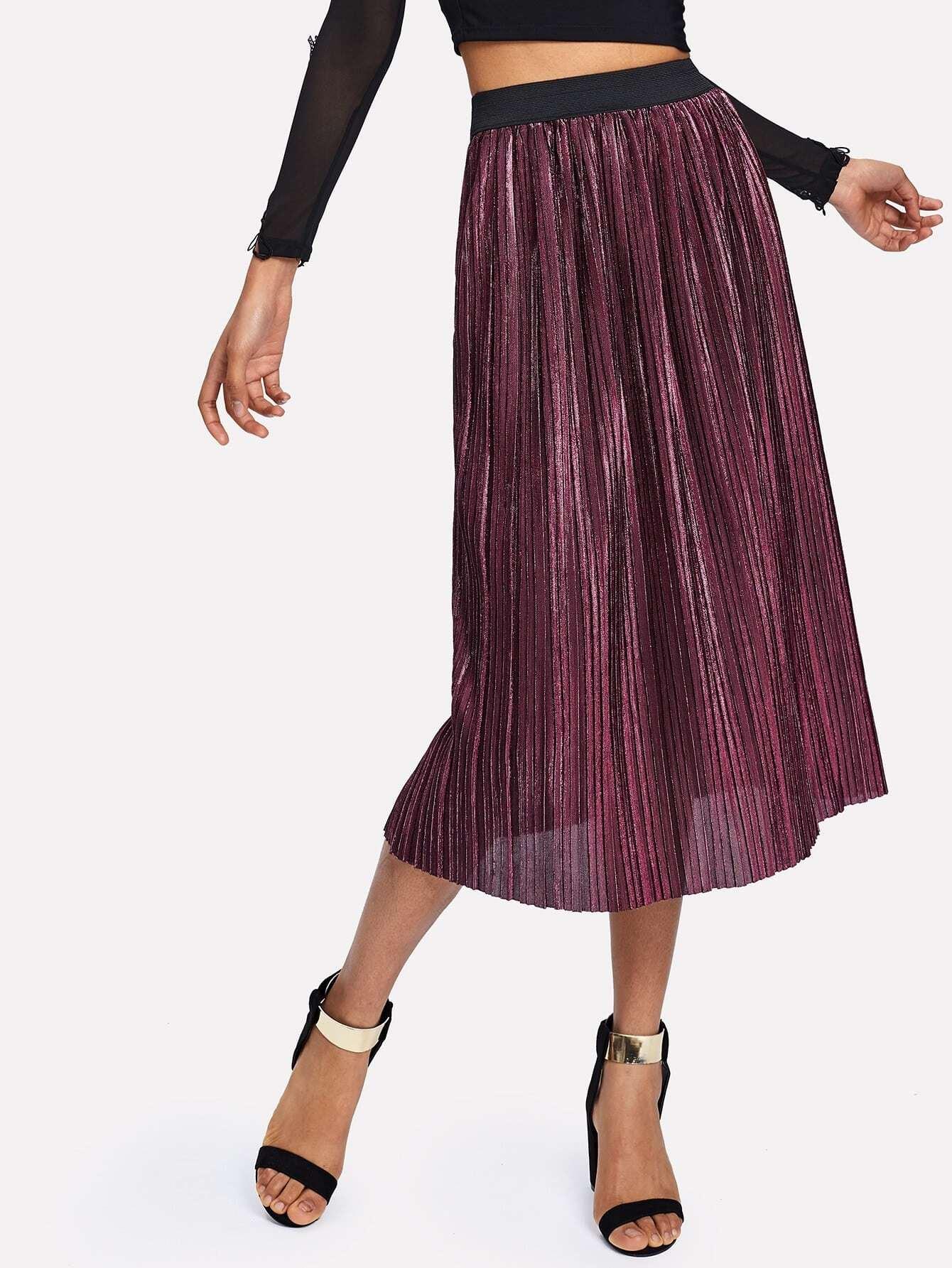 все цены на Contrast Elastic Waist Pleated Velvet Skirt