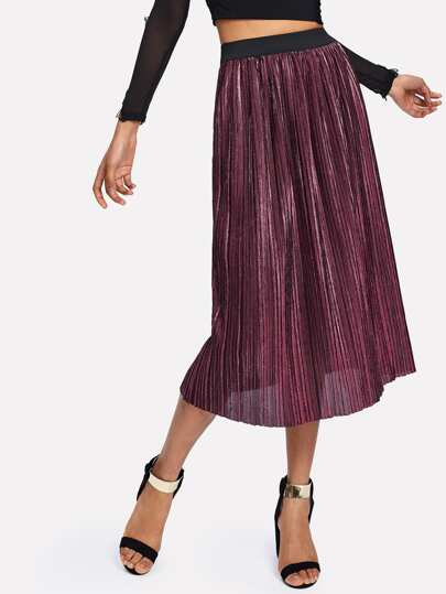 Contrast Elastic Waist Pleated Velvet Skirt