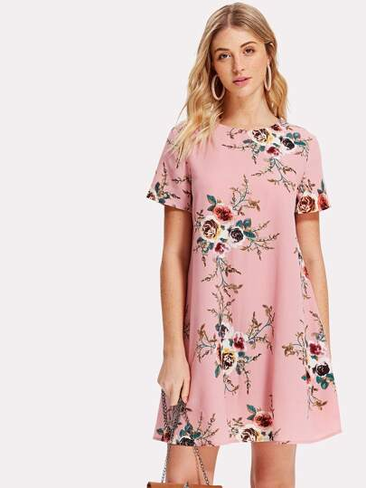 Flower Print Swing Dress