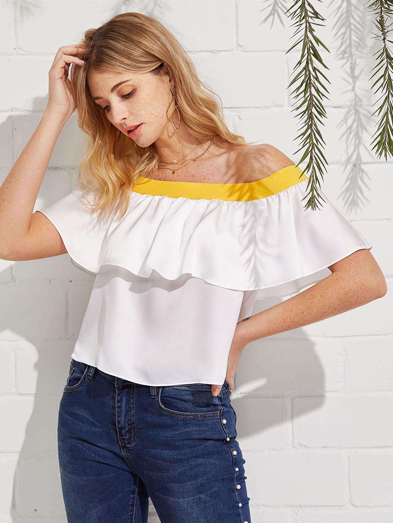 Купить Модная блуза с оборкой и открытыми плечами, Nathane, SheIn
