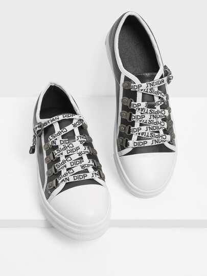 Letter Strap Design Round Toe PU Sneakers