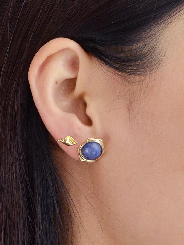 Blue Stone Earrings Set set in stone