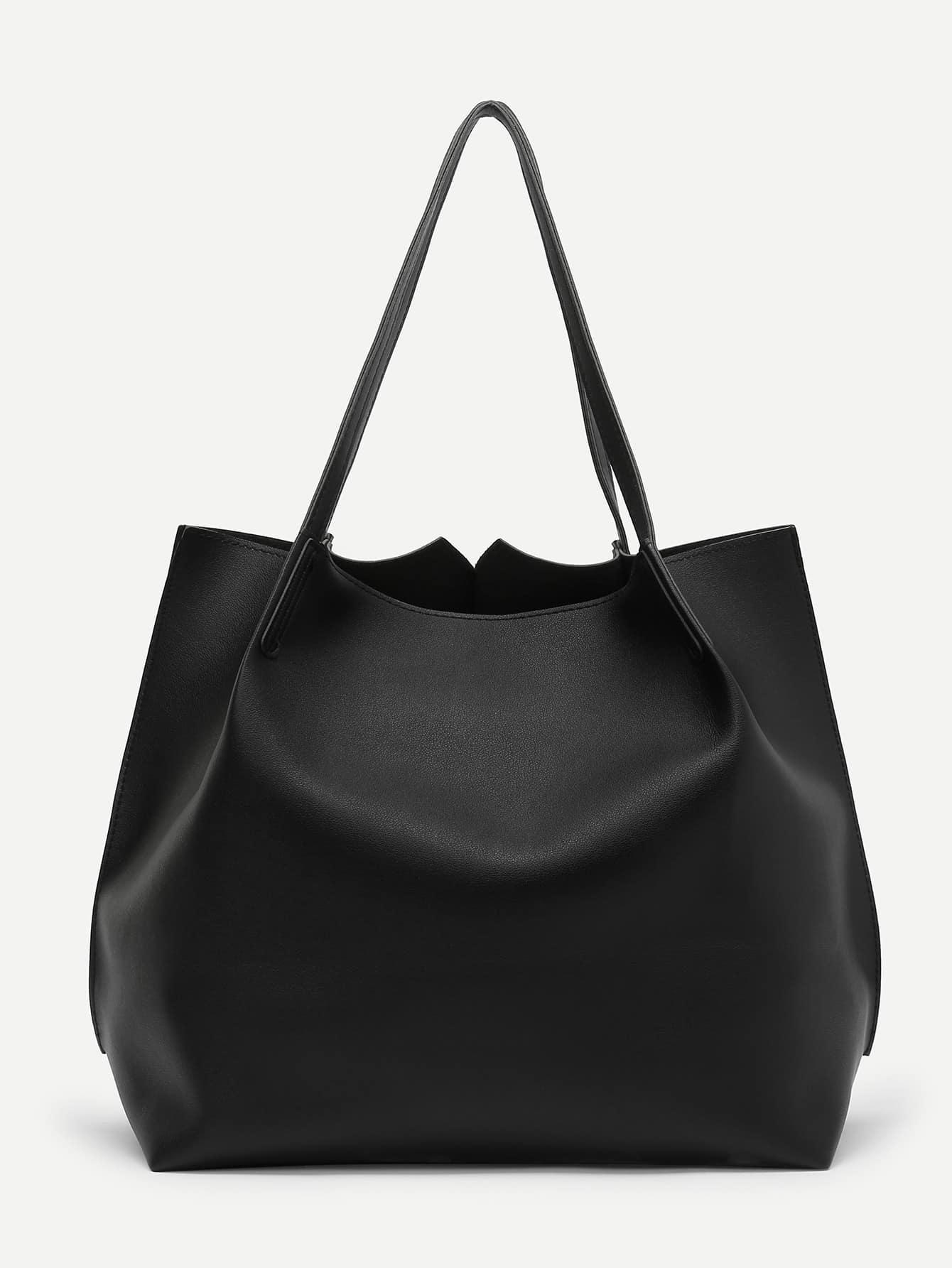 Pom Pom Charm Tote Bag With Clutch tote bag with round charm