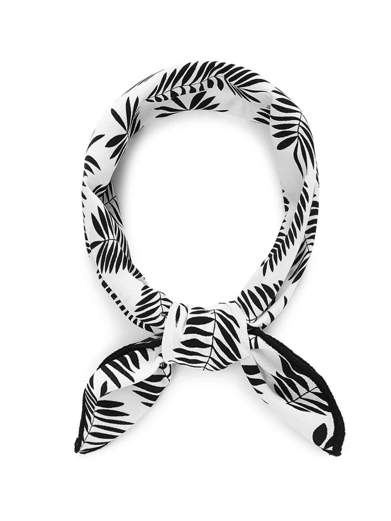 Leaf Print Bandana Scarf calico print satin bandana
