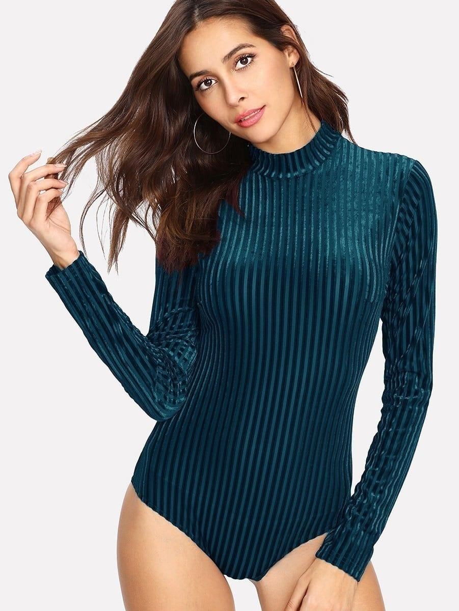 Mock Neck Velvet Bodysuit square cutout mock neck bodysuit