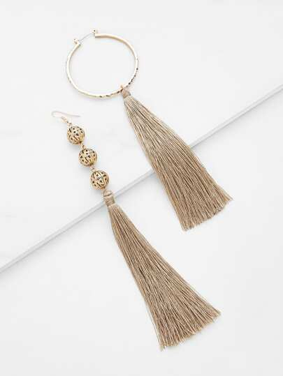 Long Tassel Mismatch Drop Earrings