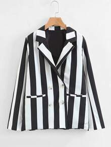 Double Breasted Block Striped Blazer