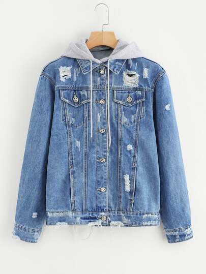 Ripped Detachable Hooded Denim Jacket
