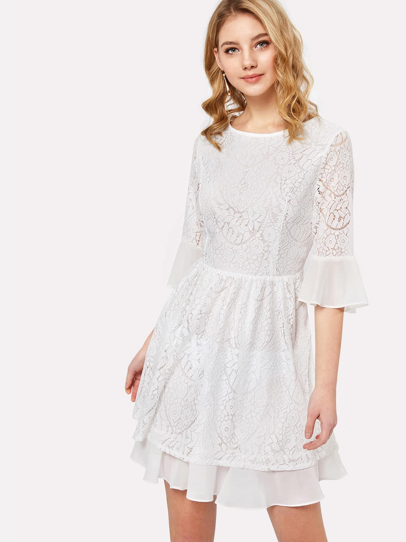 Flounce Sleeve Fit & Flare Dress flounce flare sleeve dress