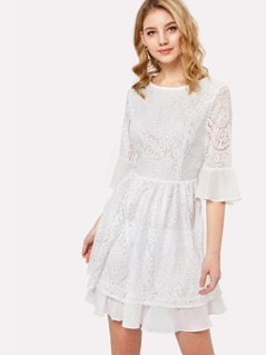 Flounce Sleeve Fit & Flare Dress
