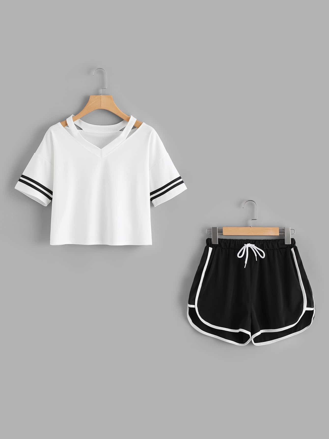Stripe Sleeve Top & Drawstring Contrast Trim Shorts цена и фото