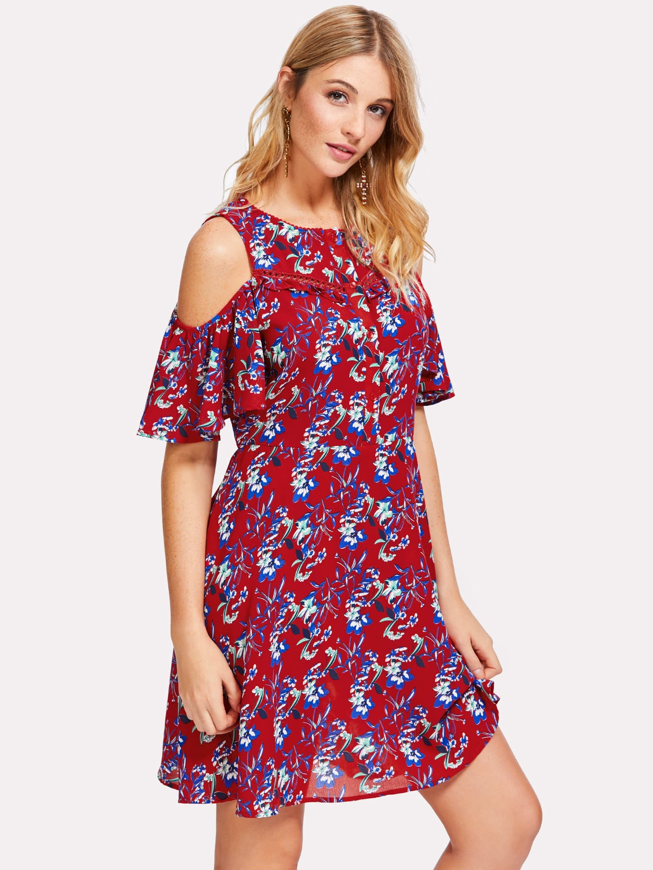 цены Half Placket Cold Shoulder Floral Dress