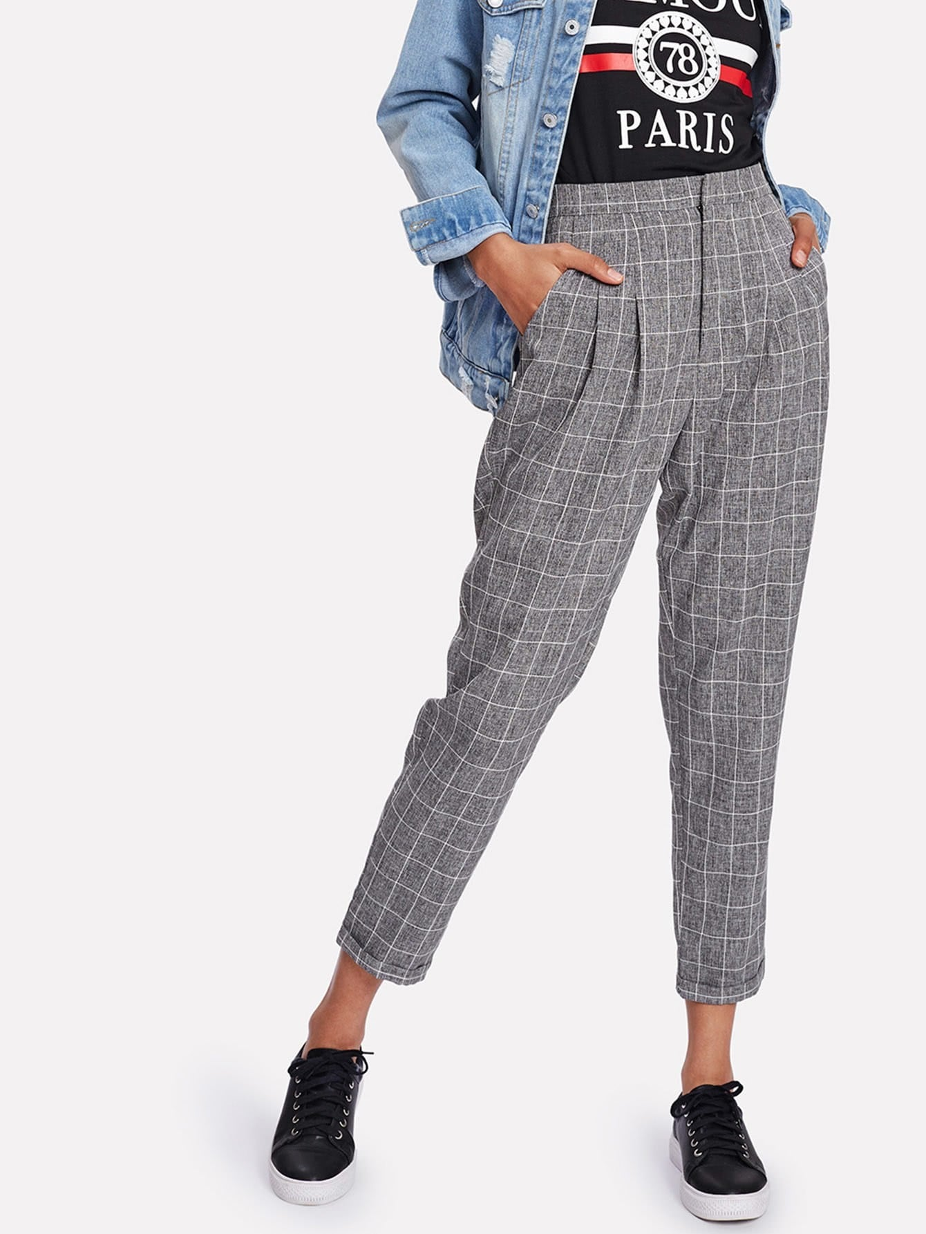 все цены на Rolled Hem Plaid Peg Leg Pants