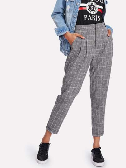 Rolled Hem Plaid Peg Leg Pants