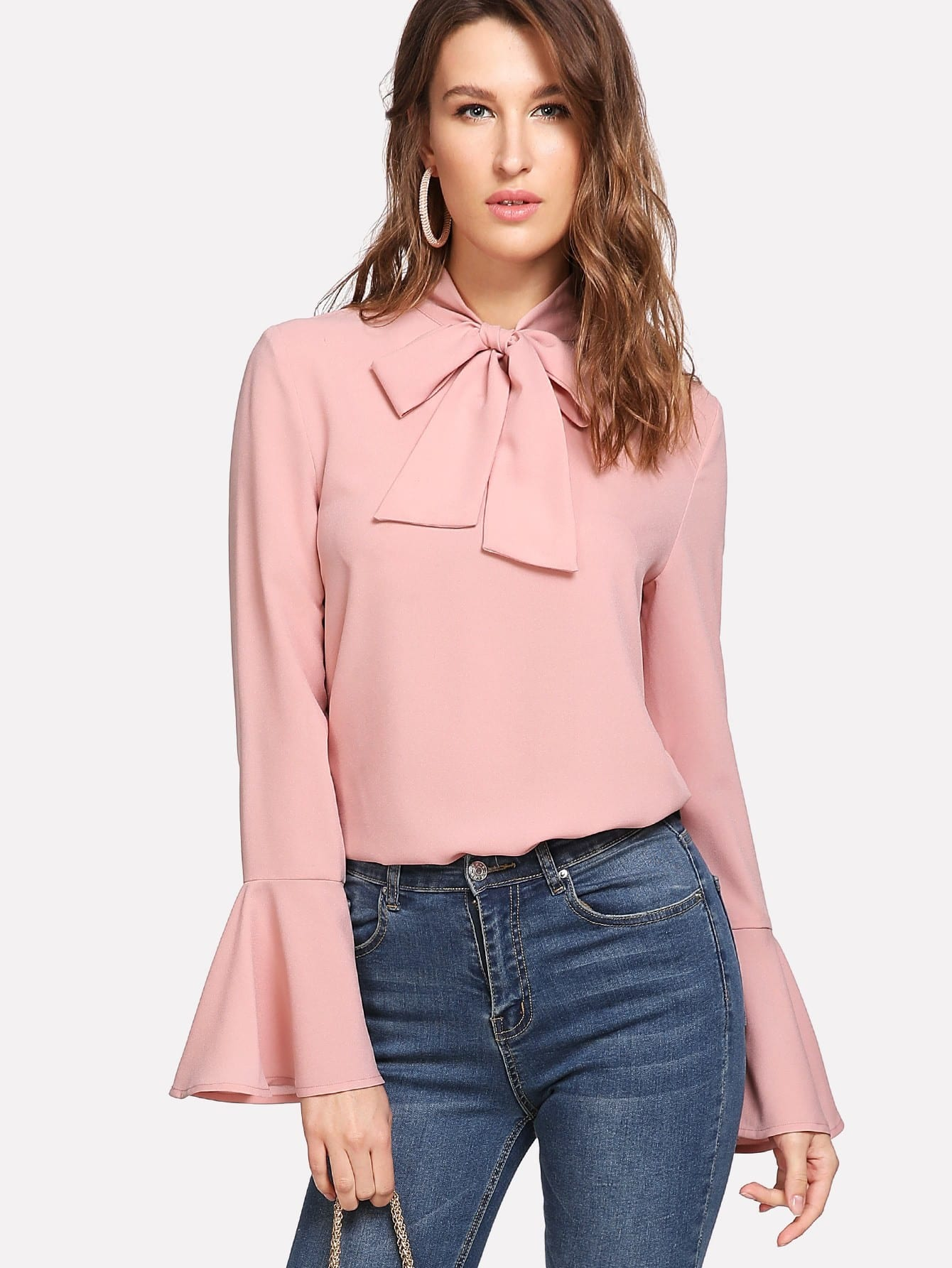 Bow Tied Neck Bell Cuff Curved Hem Blouse bow tied cuff pocket front blazer