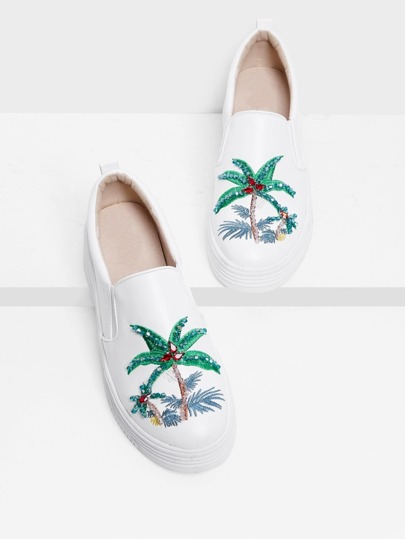 Tropical Pattern Slip On Sneakers