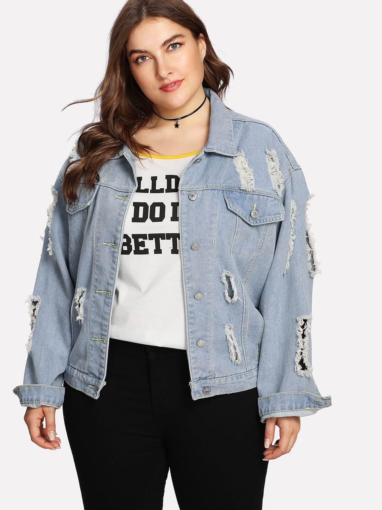 Button Up Ripped Denim Jacket long sleeve button up denim top denim