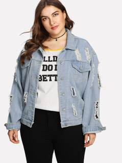 Button Up Ripped Denim Jacket