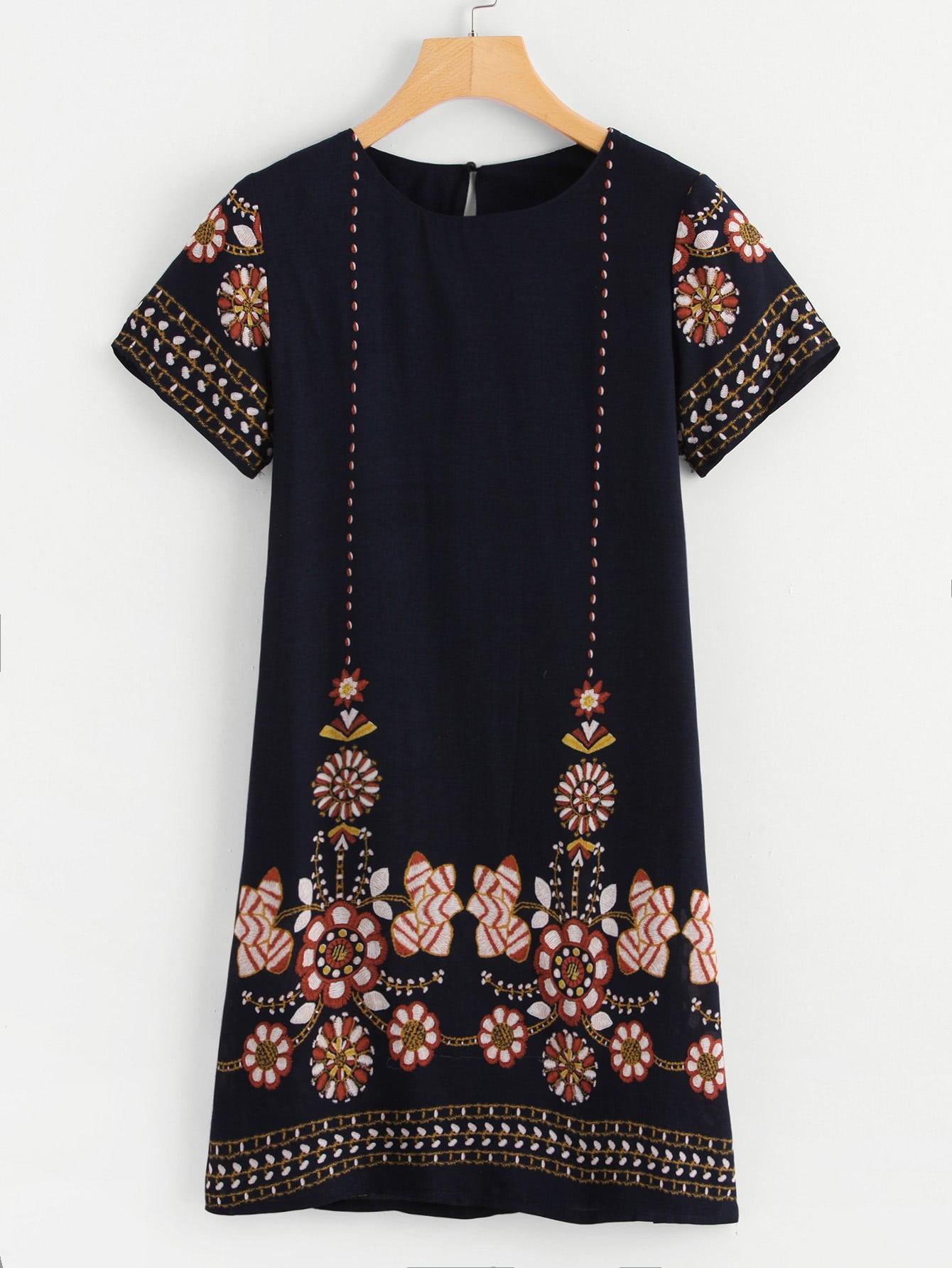 Tribal Floral Print Tunic Dress tribal print dress