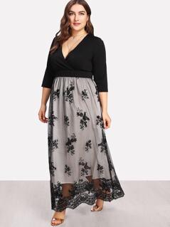 Plus Two Tone Sequin Mesh Dress